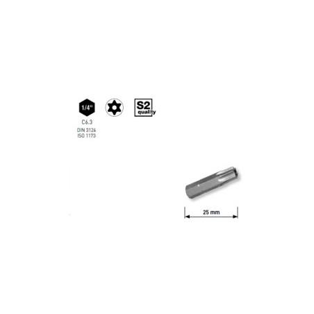 """Embout Rési-TX 1/4"""" 25mm T8 a. trou,5pc"""