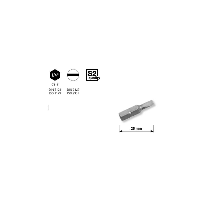 """Embout pour vis à fente 1/4"""" L. 25 mm 4.0 à 8.0 mm - 5 pièces - KRAFTWERK"""