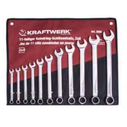 Jeu 11 clés combinées polies miroir avec trousse en pouce - KRAFTWERK