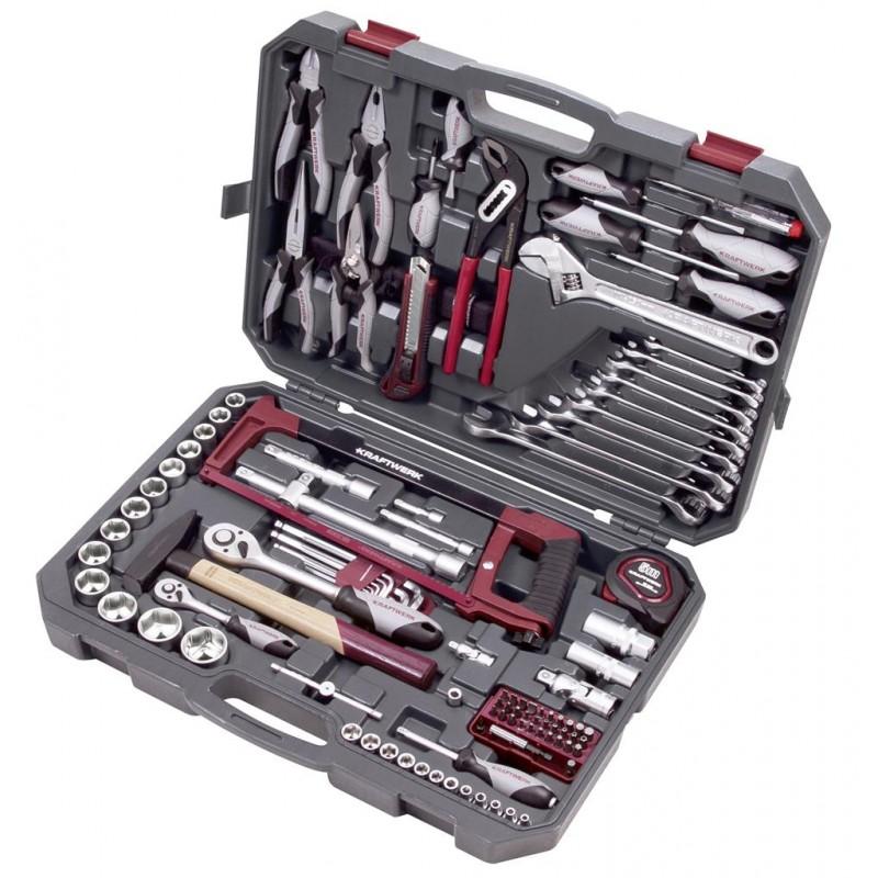 """Coffret d'outils Basic-Line,  1/4"""" + 1/2"""", 115 pièces - KRAFTWERK"""