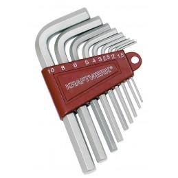 Jeu de 9 clés mâles coudés pour vis 6 pans creux 1.5-10 mm - KRAFTWERK