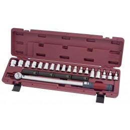 """Coffret de clé dynamométrique réversible à déclenchement sensoriel 1/2"""" 65-335 Nm 23 pièces - KRAFTWERK"""