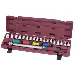 """Coffret de clé dynamométrique réversible  à déclenchement sensoriel 1/2"""" 40-200 Nm 23 pièces - KRAFTWERK"""