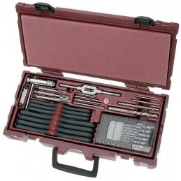 Jeu de forets, tarauds main et machine et filières rectifiés, avec filières avec porte-filière COMPLETO 40 pièces - KRAFTWERK