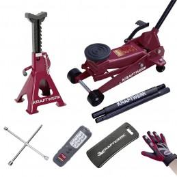 Jeu d'outils de changement de roue - 6 pièces avec cric 3T - KRAFTWERK