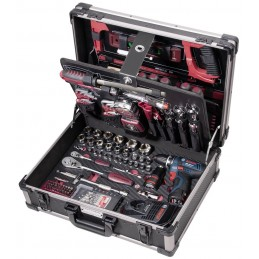 """Coffret d'outils Pro Line avec perceuse/ visseuse sans fil BOSCH, 1/4""""+ 1/2"""",   264 pièces - KRAFTWERK"""