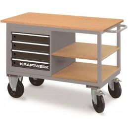 Chariot d'atelier 4 tiroirs et 2 étagères