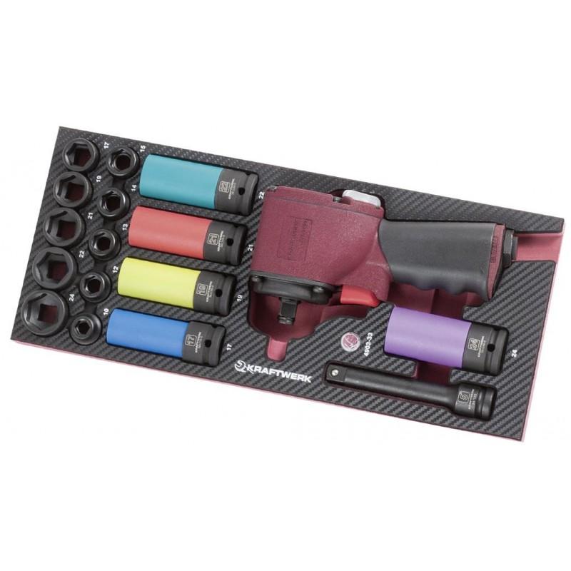 Coquille de clé à choc pneumatique EVA3, 18 pièces - KRAFTWERK