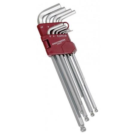 Jeu de 10 clés mâles à tête sphérique - 1.5 à 0 mm - KRAFTWERK
