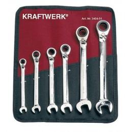 Coffret de Clé mixte à cliquet, Clickraft, flexible, 6 pièces - de 8 à 19 mm - KRAFTWERK