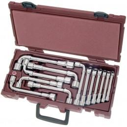 Coffret clés à pipe débouchées 6X6 pans COMPLETO 13 pièces - De 8 à 22 mm - KRAFTWERK