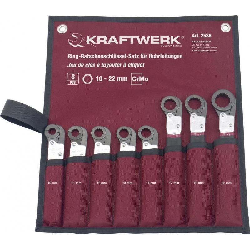 Trousse de 8 clés à tuyauter à cliquet - KRAFTWERK